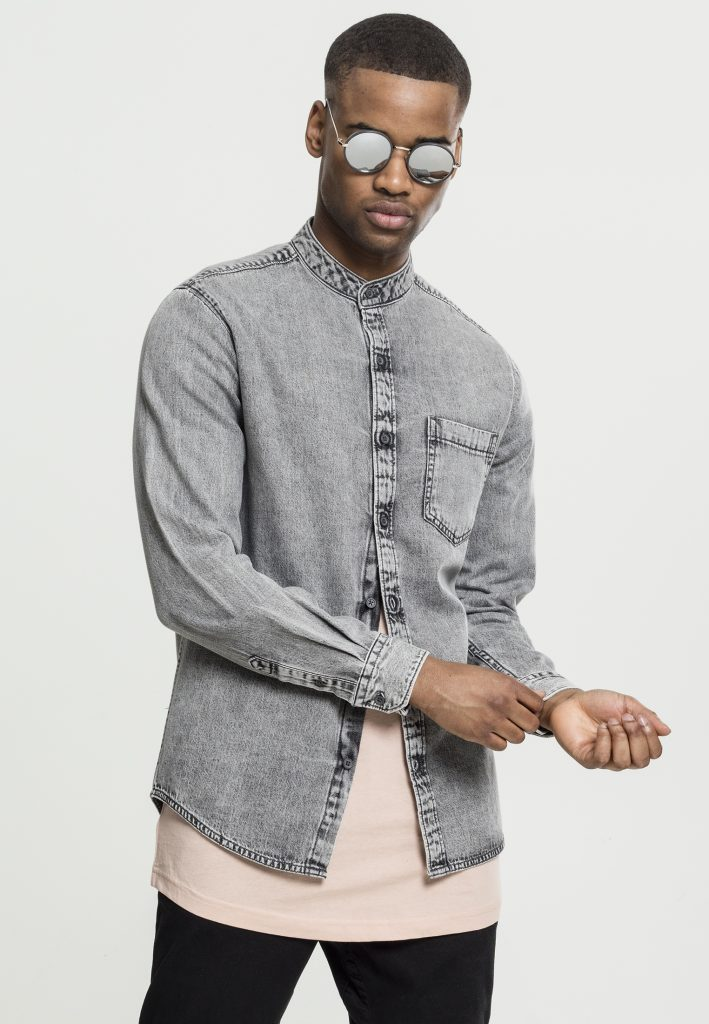 URBAN CLASSICS LOW COLLAR DENIM Shirt