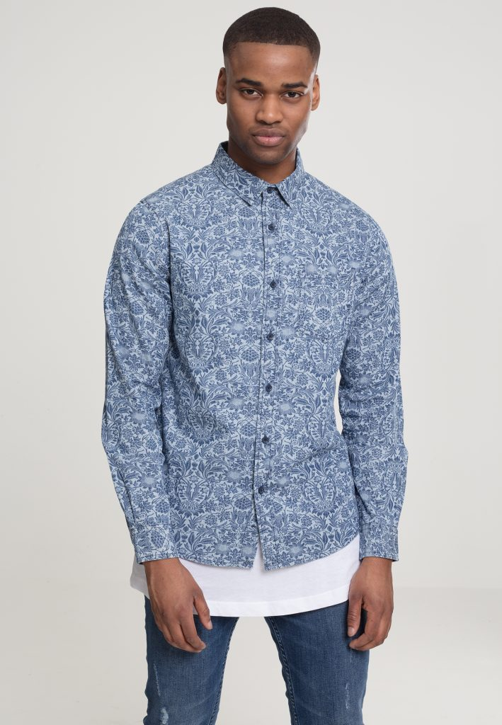 URBAN CLASSICS PRINTED FLOWER DENIM Shirt